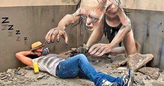 17 Obras de um artista do grafite que parecem ganhar vida e sair das paredes