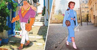 Artista deu um toque moderno aos personagens clássicos da Disney, inserindo-os em destinos dos sonhos
