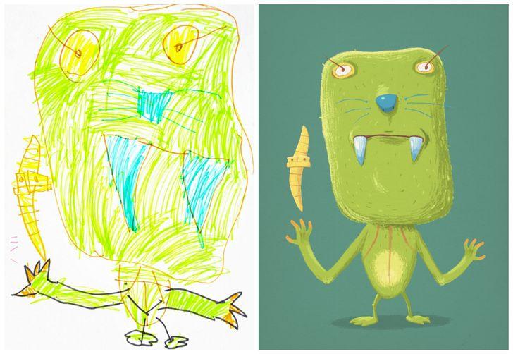 Ilustradores profissionais recriaram alguns desenhos decrianças. Veja oresultado