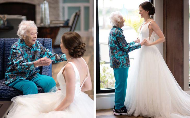 Noiva usa seu vestido de casamento para viver momento emocionante ao lado da avó doente