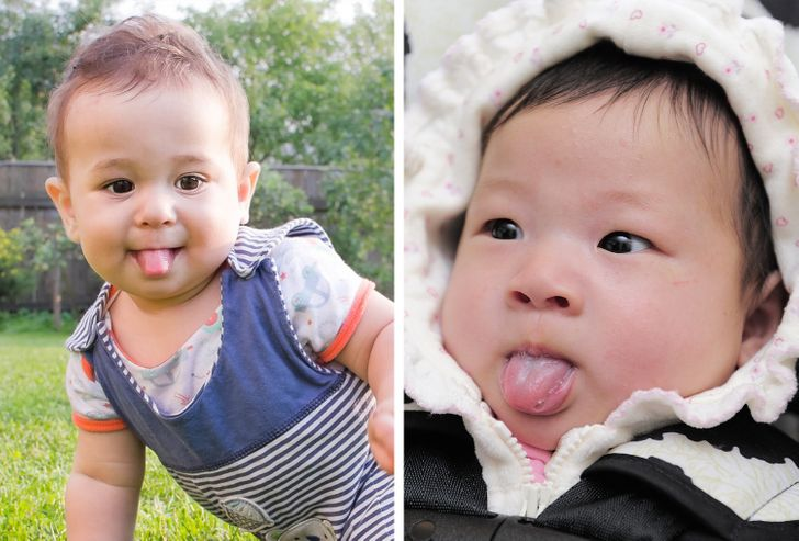 Por que seu bebê coloca a língua para fora