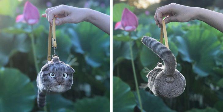 Artista japonesa cria bolsas e mochilas em formato de gatinhos tão realistas que parecem ter vida