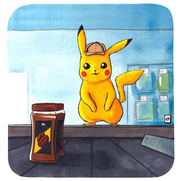 Uma artista francesa desenha o que alguns personagens famosos comprariam no supermercado