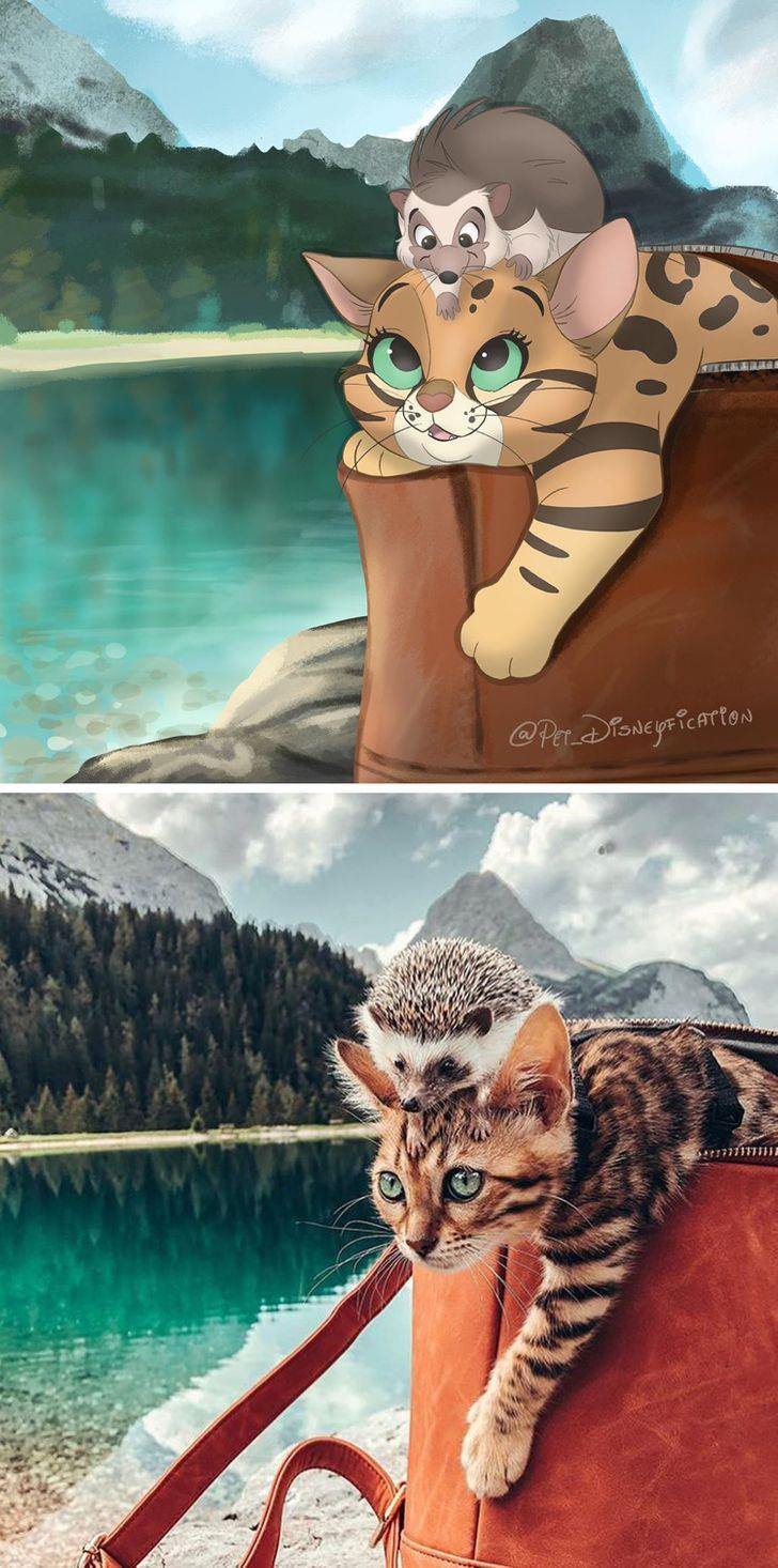 Ilustrador transforma fotos de seu animal de estimação em criações mágicas no melhor estilo Disney