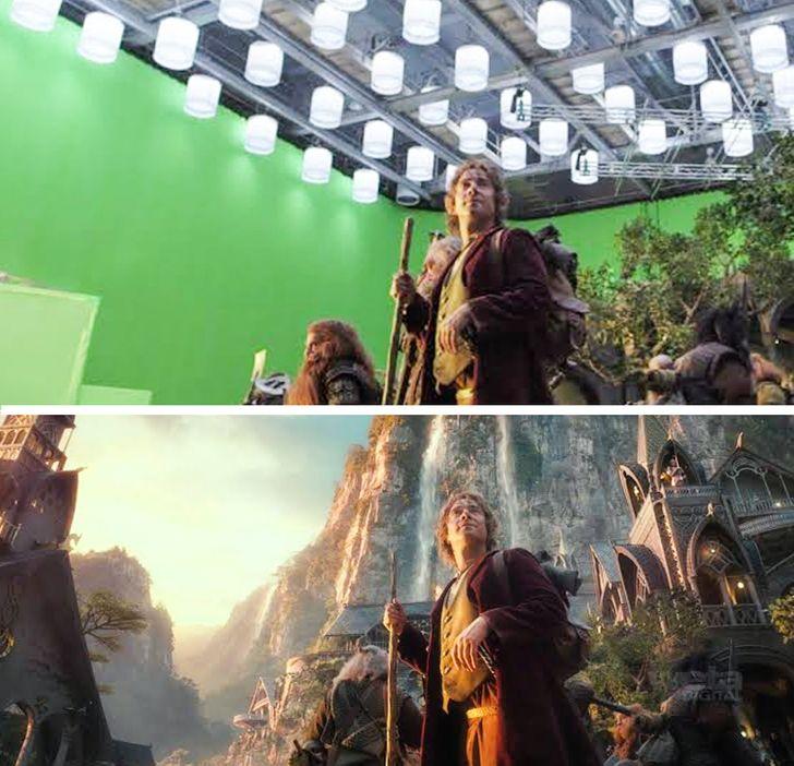 17 Imagens que mostram a enorme diferença entre os bastidores e as cenas reais dos filmes