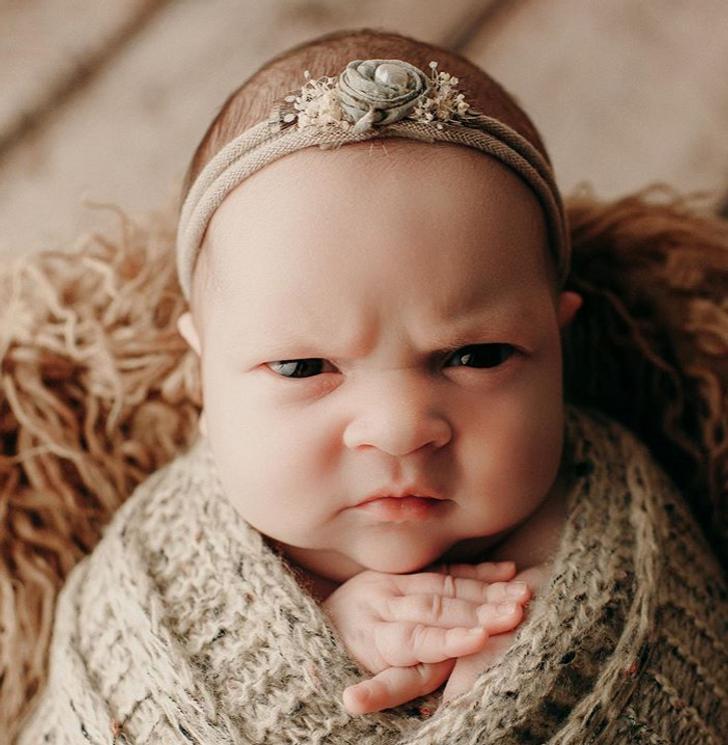 As fotos da recém-nascida que fez cara de brava durante o ensaio são a melhor coisa que você vai ver hoje